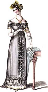 Second Mourning Evening Full Dress, 1810 A white satin slip, ornamented round the bottom with gold, over which is worn a black net dress with short sleeves.
