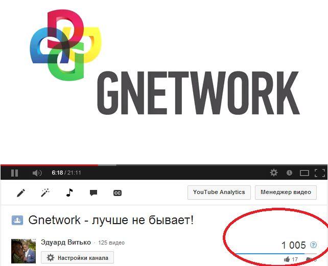 """1000 просмотров видеоролика """"Gnetwork - лучше не б..."""