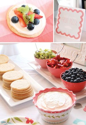 Fruit Pizza Bar.  I love my strawberry pizza but never thought to do this on individual sugar cookies.  Great idea!