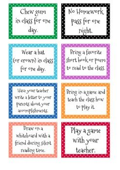 Cute Polka-Dot Classroom Reward Cards pt. 2