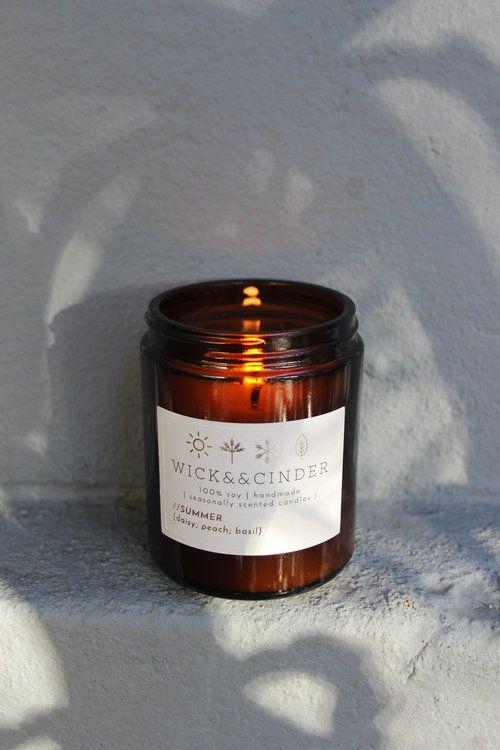 Summer {daisy; peach; basil} #wickandcinder #seasonal #summer #daisy #peach #basil #soycandle #candles #homedecor #homefragrance