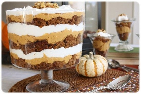 Pumpkin Gingerbread Trifle {Oh, am going to *HAVE* to try this with my new favorite Spice cake with Pumpkin Spice Buttercream frosting!! -- http://pinterest.com/pin/65231894572297964/}