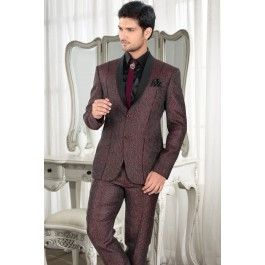 Maroon jute suit with black satin shirt -ST158