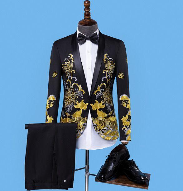 2PCS Men Floral Printed Blazer Suits Wedding Bridegroom Party Coat Pants Sets