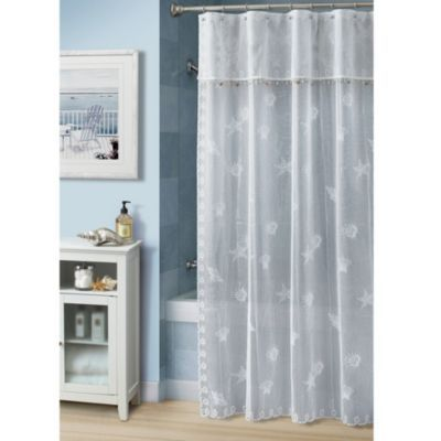 buy croscill bayhead lace w x l fabric shower curtain from at bed bath u0026 beyond bring the feel of a warm casual walk on the beach into your bathroom with