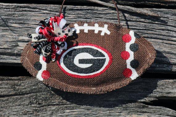 Hand Crafted Georgia Bulldogs Burlap by 2SouthernBellesDecor, $30.00