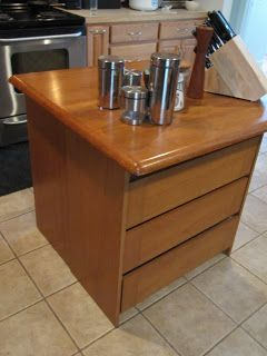 Sew Many Ways...: Colleen's Corner...Make A Quick Kitchen Island with back to back cabinets, bookcases, end table, etc. Add furniture legs and a granite slab for the top to really make it beautiful.