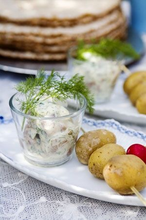 Modern take on the traditional Swedish Midsummer fare: Fingerling potatoes with dill dipping sauce.