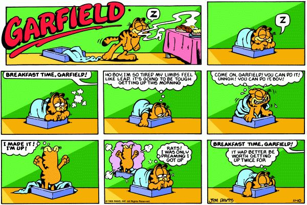 Reading the Garfield Comic on Sunday Mornings