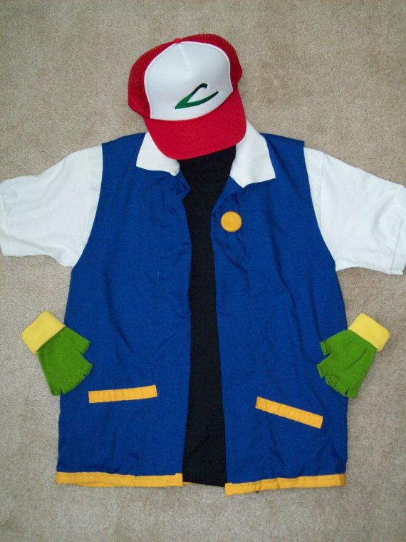 Men's MEDIUM - 4 pc Full POKEMON Ash Ketchum Trainer Costume - Cosplay, Anime