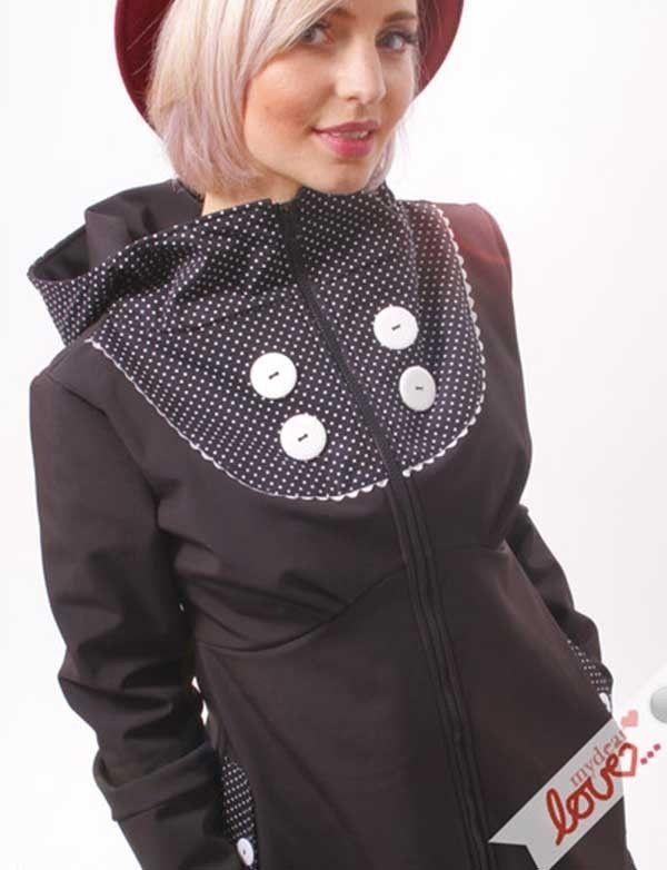 Černý dámský originální softshellový kabát Emilia