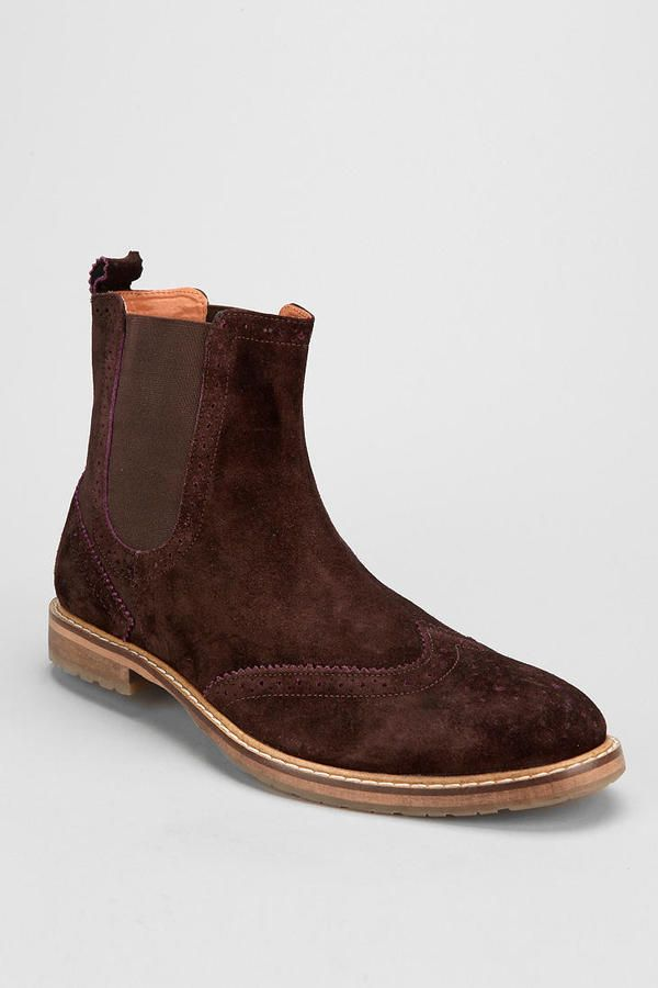 $150, Brown Suede Chelsea Boots: Ben Sherman Suede Brogue Chelsea Boot. Sold by Urban Outfitters. Click for more info: https://lookastic.com/men/shop_items/11362/redirect
