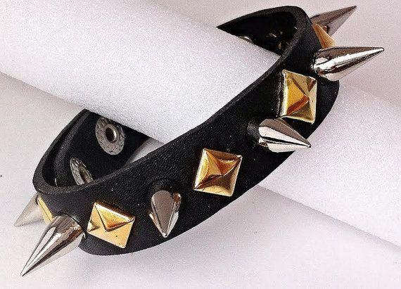 Faux Leather (Vegan) Spiked & Studded Bracelet - Pink / Gold Rivets Silver 10mm Spikes