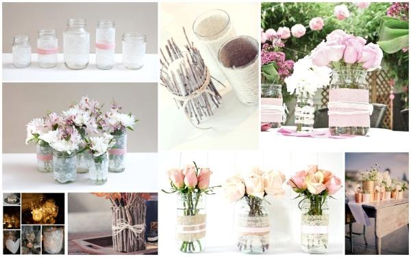 DIY - bryllupsdekor - vaser og lysestaker til en billig penge!