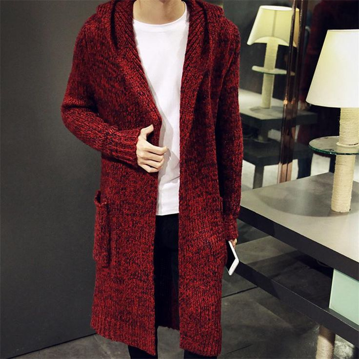 2016 Autumn Winter Mens Long Sweater Cardigans New Fashion Oversized Jumpers Mens Hooded Sueter Knit Sweater Jersey Sudaderas