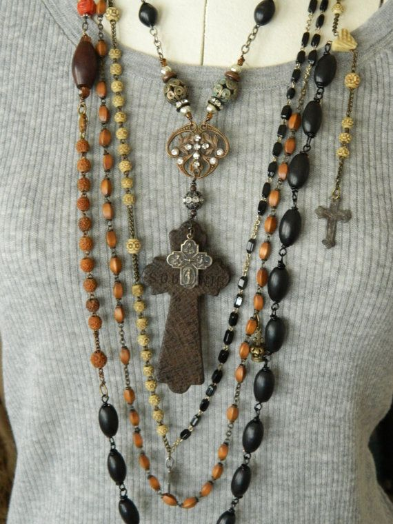 Assemblage Necklace Upcycled France Nun's Rosary 1900 by 58Diamond