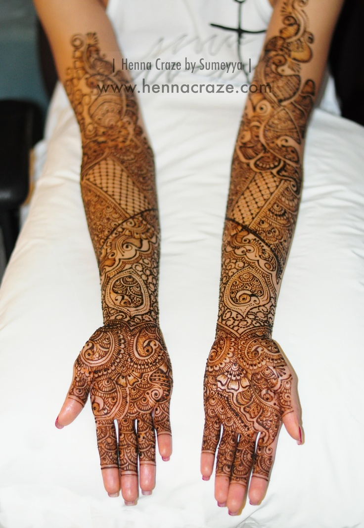 Indian style henna going up past the elbow! Did this for a bride getting married in Chicago, IL this weekend! :)     Henna Craze by Sumeyya: www.hennacraze.com