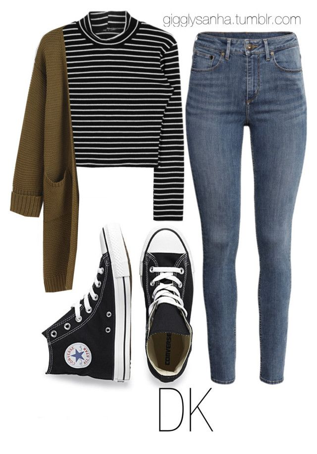 """""""Casual City Date // DK"""" by suga-infires ❤ liked on Polyvore featuring Converse and H&M"""