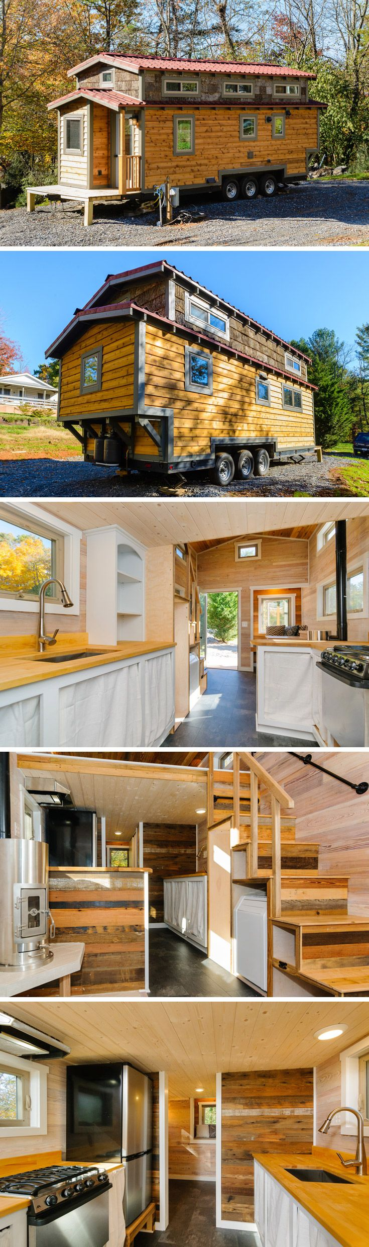 Tiny house with an eye-catching exterior consisting of cedar and poplar, and the interior uses reclaimed barn wood.