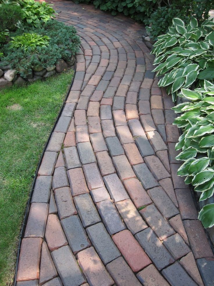 Curving brick path