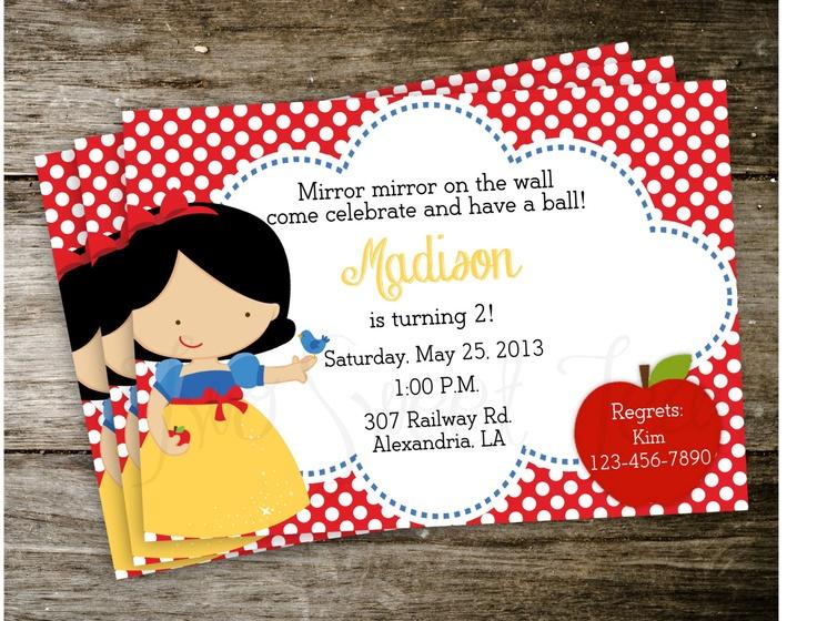 Snow White Polka Dot Disney Princess Birthday Party Invitation Digital Printable. $15.00, via Etsy.