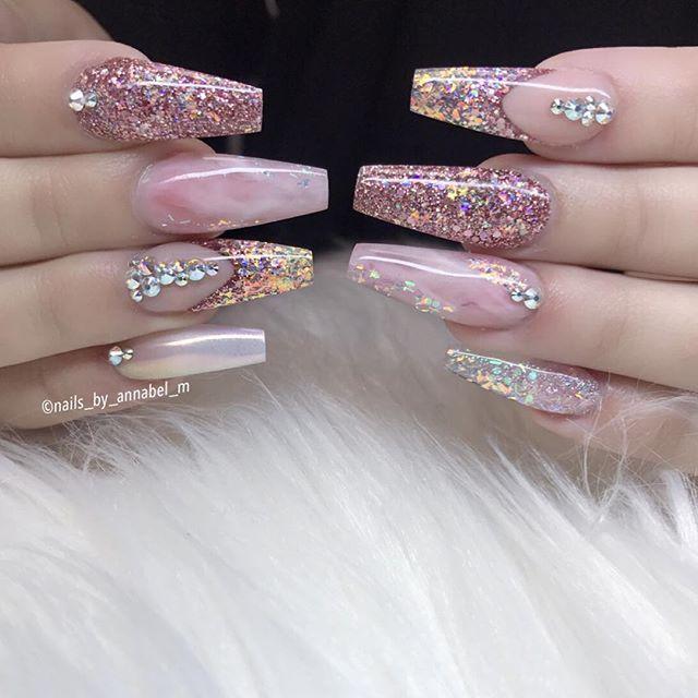 Nails For Chels Using All Glamandglits Diamond Acrylic Adore Fantasy Acrylic Pink Diamond Nail Designs Gold Acrylic Nails Best Nail Art Designs
