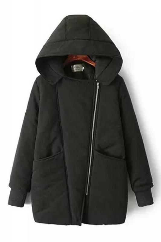 Oblique Zipper Two-Pocket Long Sleeve Hooded Winter Coat