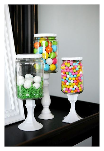 I love this: glass candy or display jars, made from recycled jar glued on spray-painted candle holder.