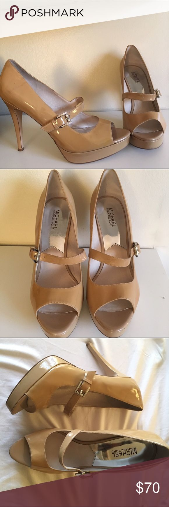 Michael Kors Nude 4.5 inch Heels Michael Kors Nude Patent Leather Heels. Mary Jane Style. Peep Toe. Worn once for a wedding. Michael Kors Shoes Heels