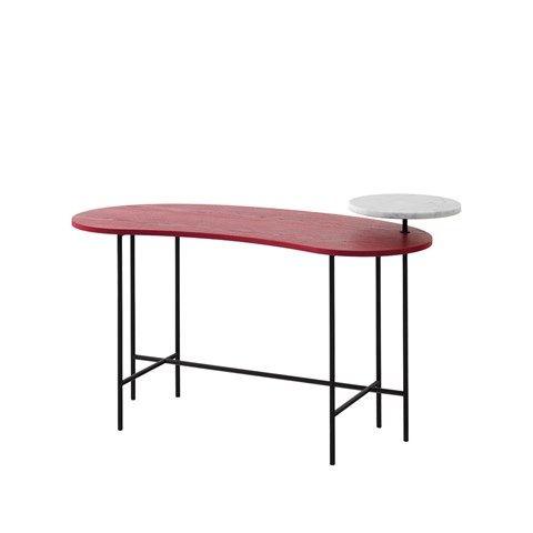 Palette skrivbord - röd, vit marmor