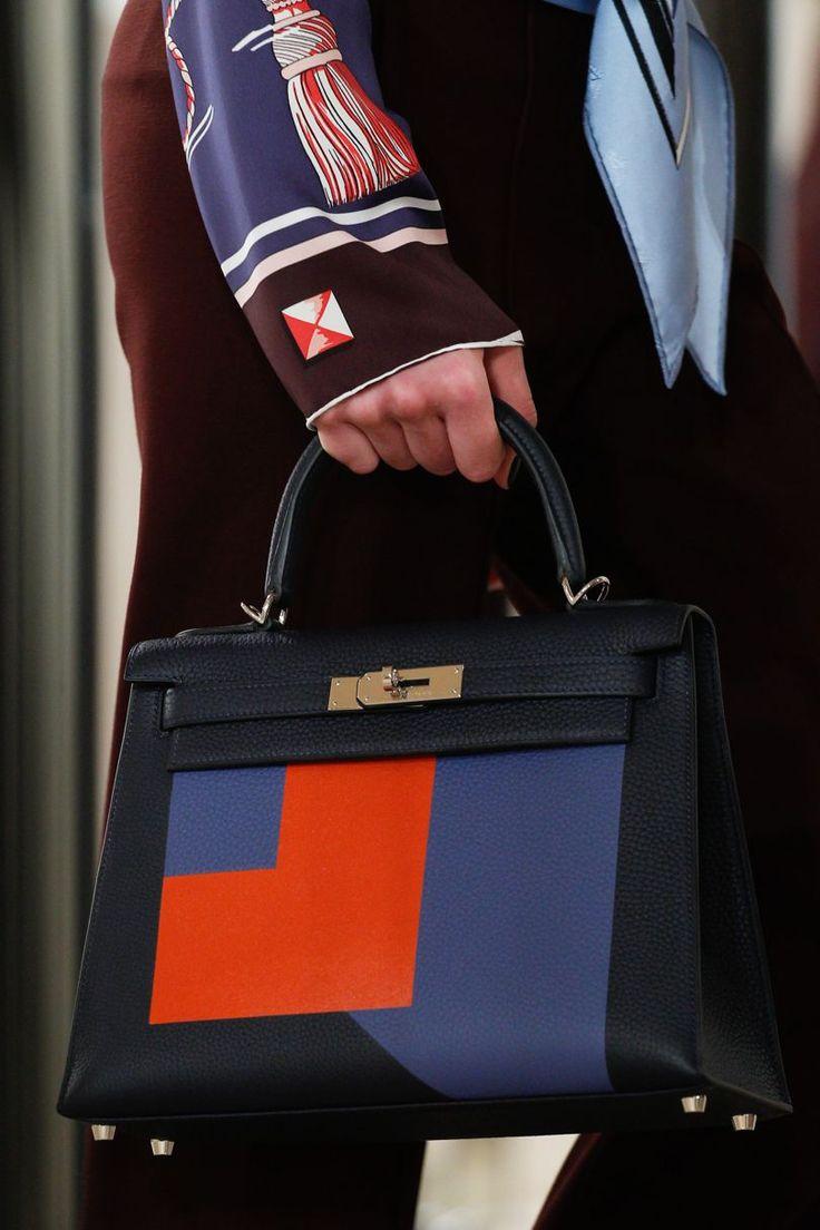 Hermes - Resort 2018. Black, red & blue colour block Kelly bag.