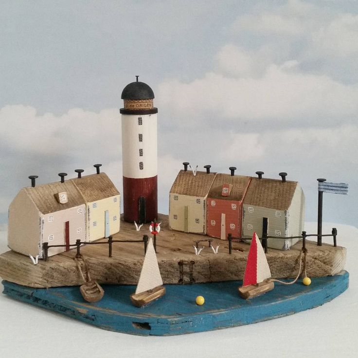 Lighthouse Harbour. #driftwood #harbour #handpainted #sailboat #seaside…