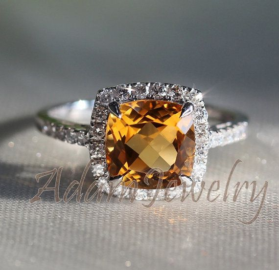 Gorgeous Halo 8mm Cushion Cut Citrine Ring 10k White Gold H/SI Diamonds Engagement Ring/ Wedding Ring/ Promise Ring/ Anniversary Ring on Etsy, $420.00
