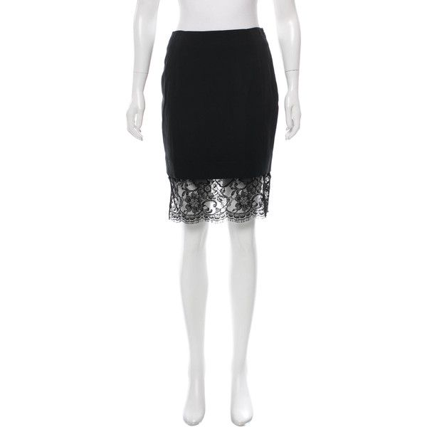 Pre-owned Altuzarra Lace-Trimmed Knee-Length Skirt ($95) ❤ liked on Polyvore featuring skirts, black, lace trim skirt, knee length skirts, white skirt, white knee length skirt and altuzarra