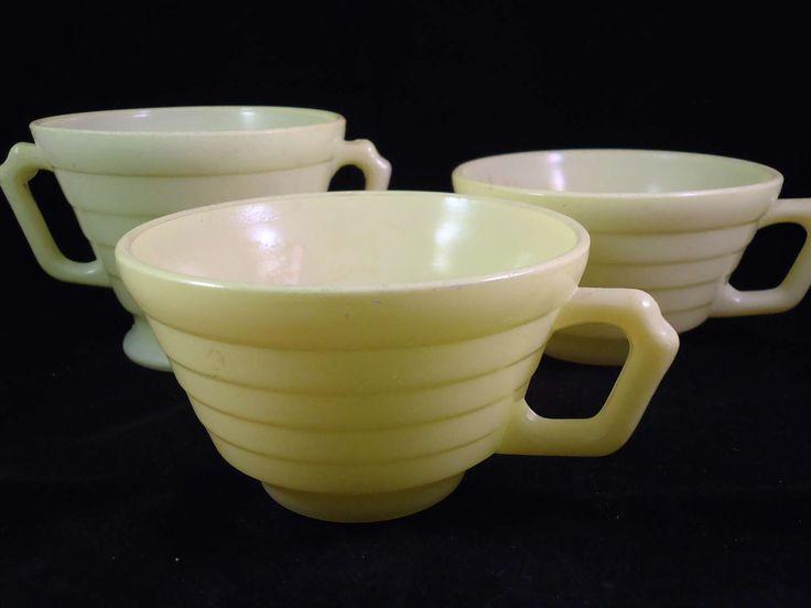 vintage light yellow coffee cups and sugar bowl by AVintageFarm on Etsy