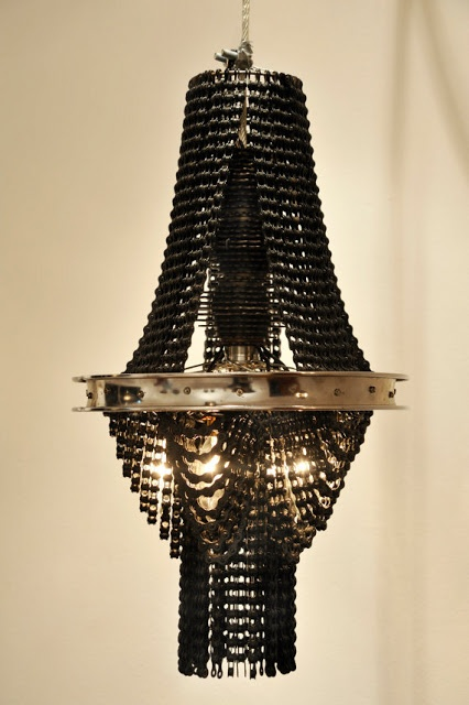 Motorcycle Rim and Chain Chandelier