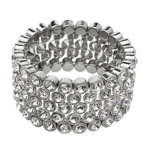 Vibrant Bracelet Genuine Crystals   Superb bracelet with genuine crystals beautifully designed in metallic base metal. Total item weight 112.9g. Length 6.5inch. Gemstone info: crystals with round shape and white color.