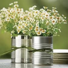 Simple daisies and tin cans