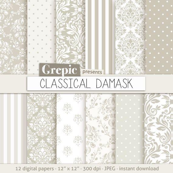 Damask digital paper CLASSICAL DAMASK digital paper pack by Grepic, $4.80