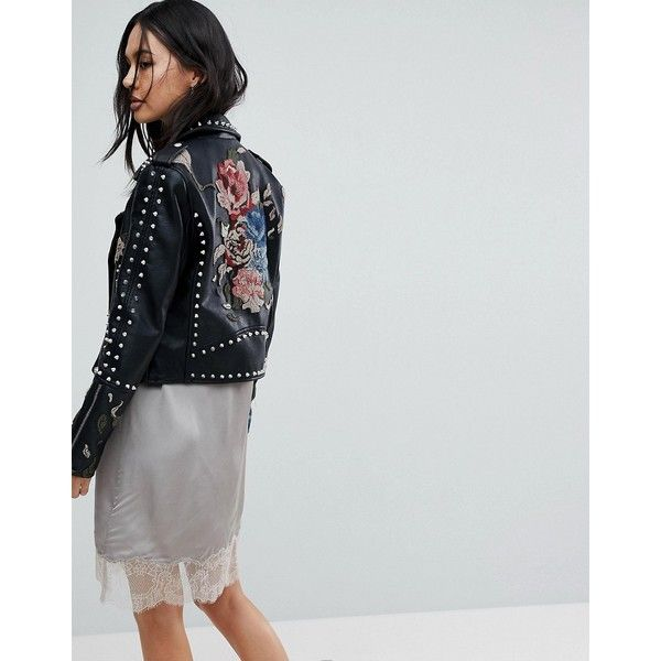 Blank NYC Embroidered Studded Biker Jacket (1,195 CNY) ❤ liked on Polyvore featuring outerwear, jackets, black, distressed motorcycle jacket, biker jackets, dressy jackets, punk denim jacket and moto jacket