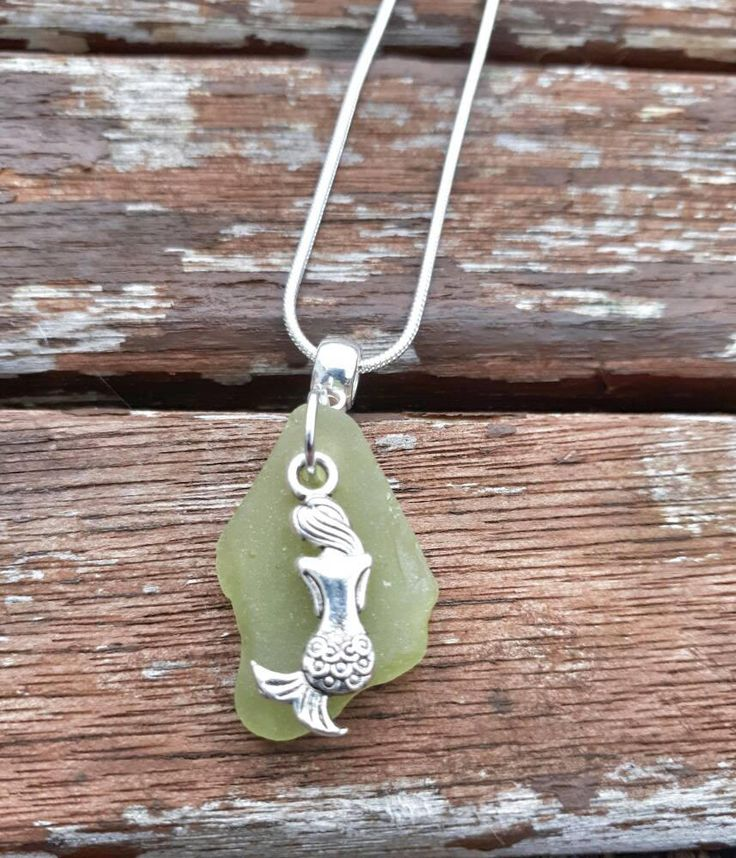 Tropical vibes yellow/lime seaglass piece with a silver mermaid charm pendant silver necklace - rare - unique one of a kind seaglass piece by MelcooDesigns on Etsy