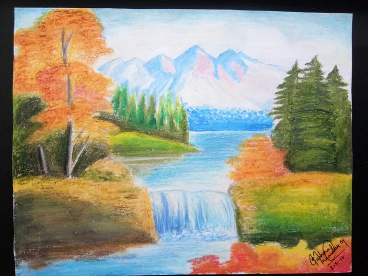 Such a beautiful scenery done with oil pastels.. ❤❤ 03.05.2013