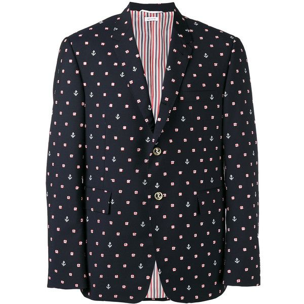 Thom Browne anchor print blazer ($2,409) ❤ liked on Polyvore featuring men's fashion, men's clothing, men's sportcoats, blue and men's sportcoats and blazers