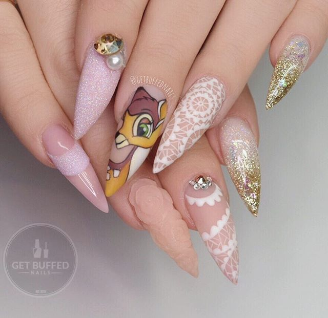 Love is a song that never ends  ~ BAMBI ~ Tap for details  Ring finger lace inspiration from @flickanail ❤�