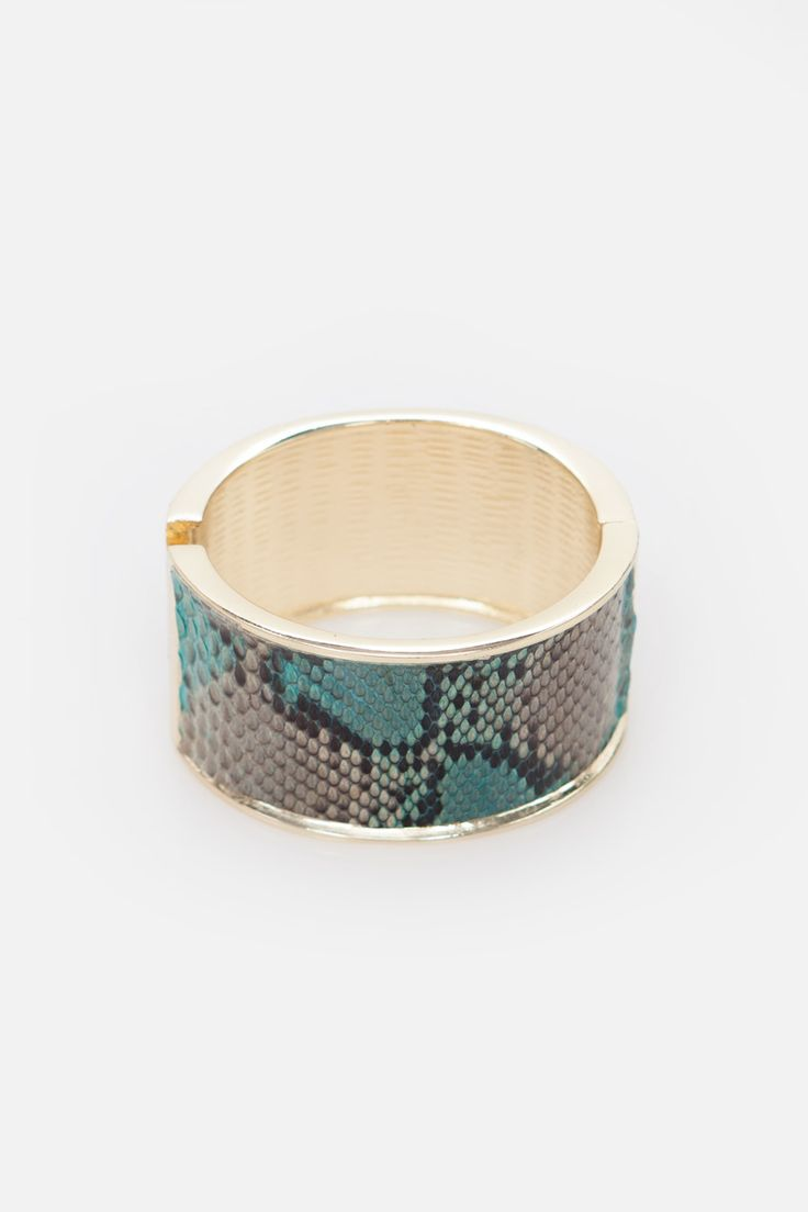 Blue Turquoise Python with Gold Bangle