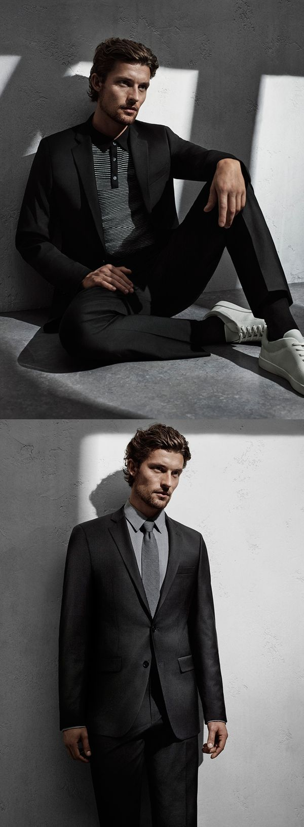 I relax in #mycalvins. Get a desk-to-dinner look this season with suiting + sportcoats in deep grey tones.