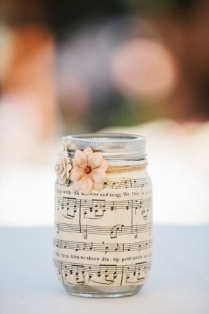 Mason Jars with Sheet Music - candle inside looks awesome! by karla