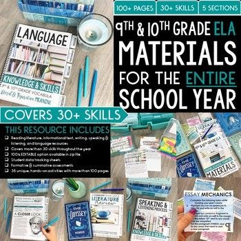 9th and 10th grade ELA materials and resources for an entire school year covering more than 30 different skills and 40+ activities. This 140+ page product is designed to help your students master a variety of different skills throughout an entire school year.