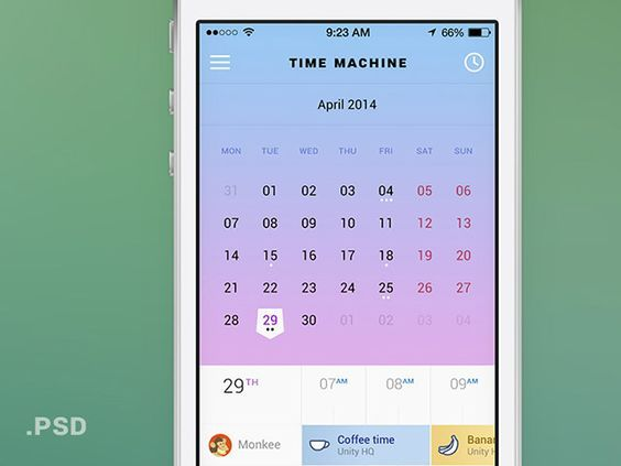 Time Machine - Mobile calendar PSD: