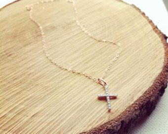 Pave Diamond Cross Necklace / Diamond Cross Necklace by cocowagner
